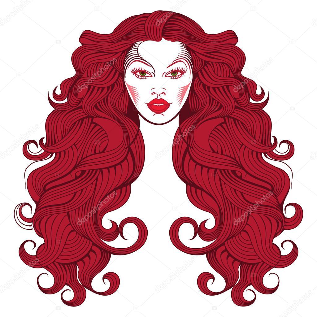 Ragazza con capelli rossi disegno