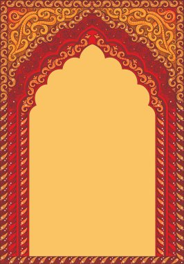 Arch-style Indian red ornaments, template for text.
