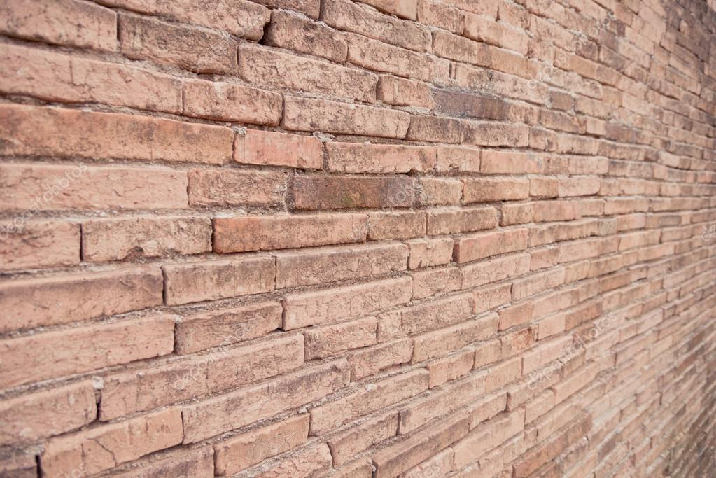 Ancient Brick Wall From Side View Background Vintage Photo By Peogeo