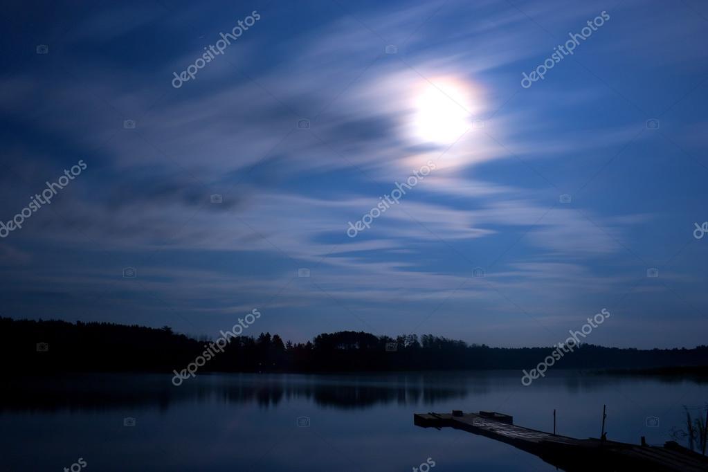 Lake night clouds moon landscape