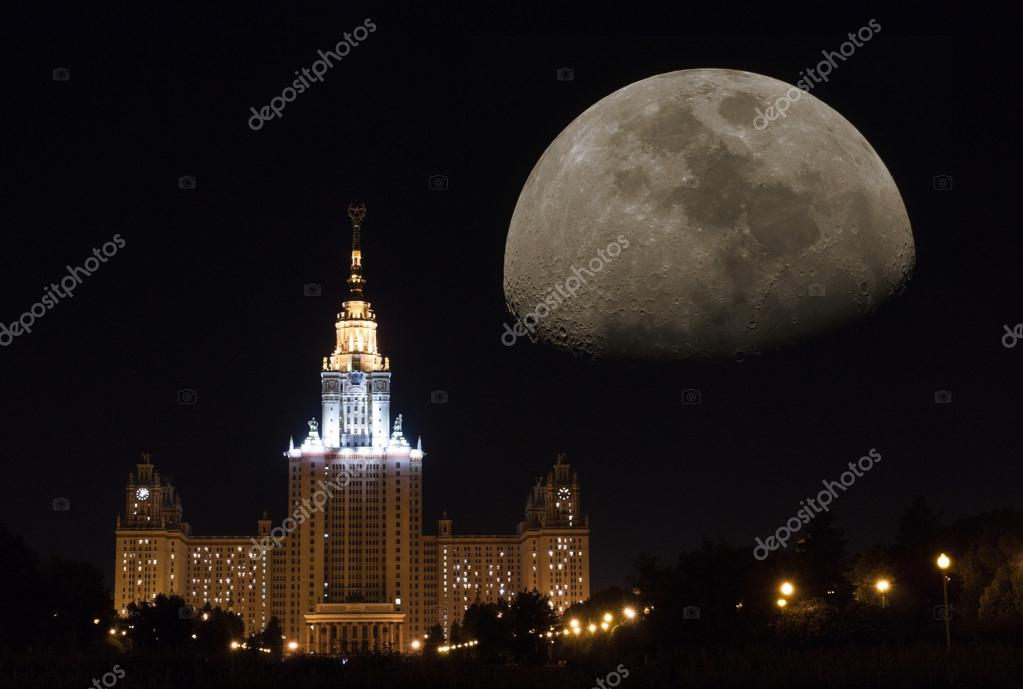 Fantastic Moscow Night Moon Stock Editorial Photo