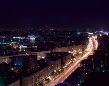 Aerial Moscow night