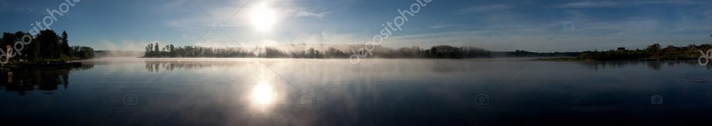 Lake morning sunrise panorama