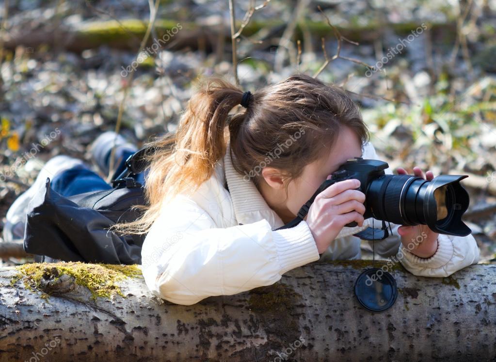 Girl wild nature photographer