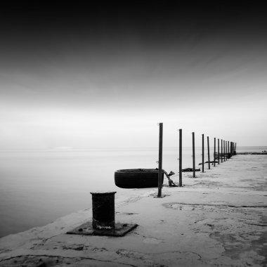 Daytime long exposure black and white seascape scene stock vector