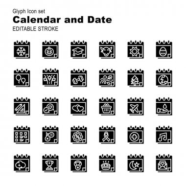 30 illustration solid icon pack calendar and date event moment,days,reminder,event,day,year,time,plan,business,deadline icon