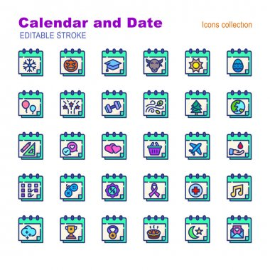 30 illustration filled outline icon pack calendar and date event moment,days,reminder,event,day,year,time,plan,business,deadline icon