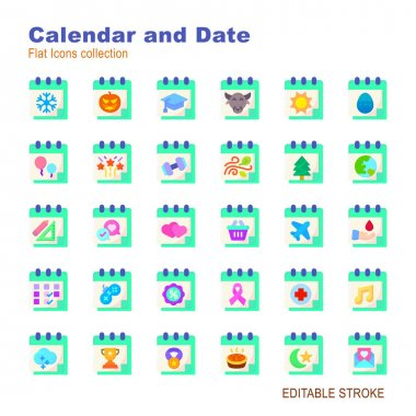 30 illustration flat icon pack calendar and date event moment,days,reminder,event,day,year,time,plan,business,deadline icon