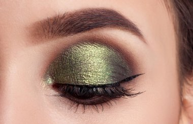 Make-up of woman eye with khaki eyeshadow. Beauty portrait of a girl model with make-up,green eyes. Creative Professional makeup: green eye shadow. open the eyes. eyes closed stock vector