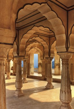 Columned hall of Amber fort, Jaipur, India