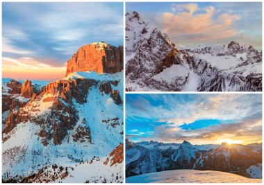 collage of high mountains snowy winter landscapes