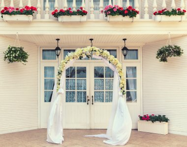 Wedding archway with flowers