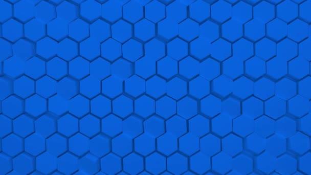 Abstrakter blauer sechseckiger Hintergrund. Eine große Anzahl grüner Sechsecke. 3D-Wandstruktur, sechseckige Blöcke Cluster. Zelluläre Platte. Nahtlose 3D-Animation von 4K
