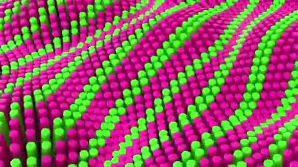 Abstrakte rosa grüne Linien Hintergrund mit Zylindern. Keramische runde Fliesen. Geometrie-Muster. Zufallszellen. Polygonal glänzende Oberfläche. Futuristische Abstraktion. Nahtlose 3D-Animation von 4K