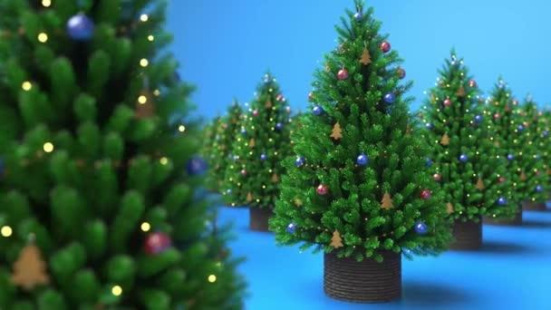 Vánoční stromky na modrém pozadí. Červenomodré kuličky, zářící dekorace. Veselé Vánoce a šťastný nový rok. Symbol vánočních stromků. Zavřít, pohyb. 3D animace 4K