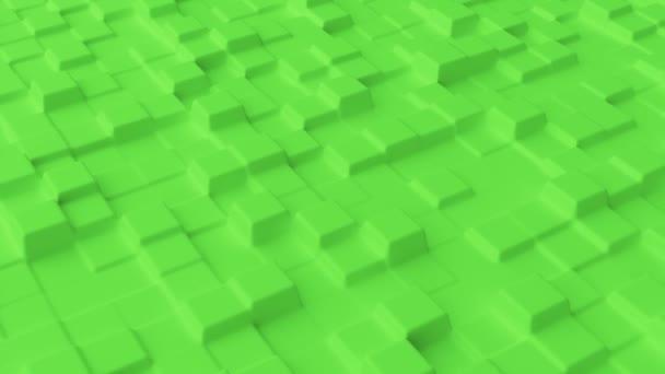 Abstraktní pozadí se zelenou mřížkou hladké čtverce. Povrch buněčné struktury. Moderní šablona pozadí pro dokumenty, sestavy a prezentace. Bezešvé smyčky 3D animace 4K