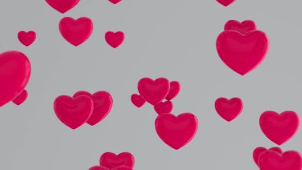 Rózsaszín szív repül szürke háttér. A Happy Women s, Anyák napja, Valentin-nap, születésnapi üdvözlőlap design szimbólumai. Sok rózsaszín szív. Romantikus elképzelés. 3d animációs hurok 4K