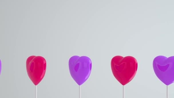 Lila rózsaszín szív fehér rúd fehér elszigetelt háttér. Menj balra és forgasd. Másold a helyet. A szerelem szimbólumai, mint a Boldog Nők, Anyák, Valentin-napok, születésnapok. 3d animációs hurok 4K