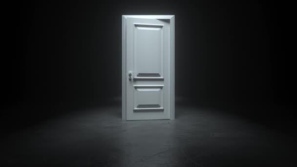 Otevírám bílé dveře v místnosti v černé hale. Abstraktní sci fi pozadí. Chodba. Futuristický koncept. Zářící v betonové místnosti s odrazy. Jdeme kupředu. 3D animační smyčka 4K
