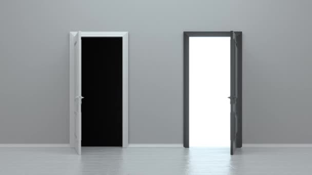 Open white and black entrance realistic door isolated on white background. Choice, business and success concept. 3d animation, 4K