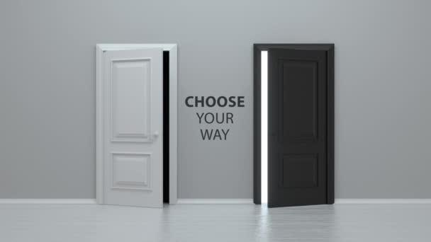 Two doors opening for choosing the way to follow. Choose your way. The doors open to reveal dark room and a bright one filled with light. Business growth, progress, opportunities, choice. 3d animation
