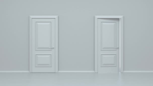 Open and closed white entrance door isolated on white background. Door in a bright white room opens and fills the space with bright white. Choice, business and success concept. 3d animation, 4K
