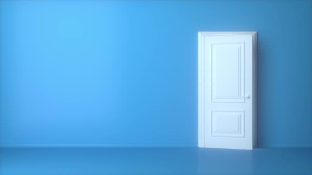 Open white door on blue background. Light shines from door opening. Flight forward, entering inside the doorway. Opportunity metaphor. Abstract metaphor. Concept idea creative. 3d animation intro, 4K