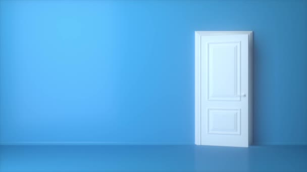 Choose your future. Open white door on blue background. Light shines from door opening. Flight forward, entering inside the doorway. Opportunity metaphor. Abstract metaphor. 3d animation intro, 4K