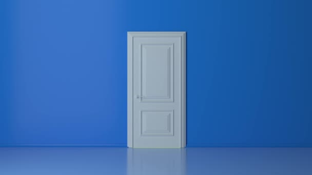 Yellow light inside the open white door isolated on blue background. Room interior design element. Flight forward, entering inside the doorway. Opportunity metaphor. 3d animation intro, 4K