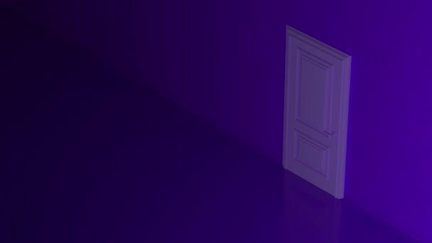 Lila szoba nyíló ajtóval és sárga meleg fénnyel. Az ajtó kinyílik és fényes, színes fénnyel tölti meg a teret. Megtölti a sötét teret. Modern minimális koncepció. Lehetőség metafora. 3d animáció 4K