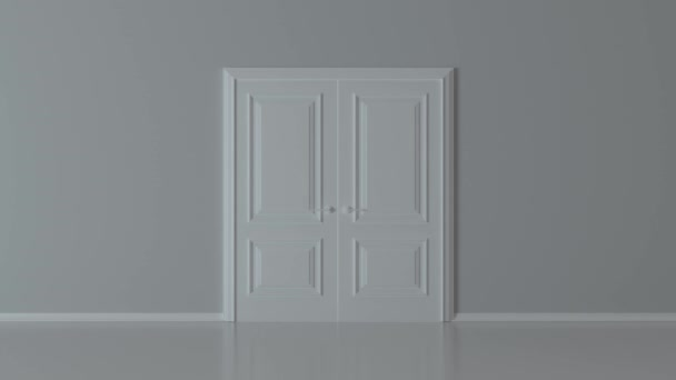 Double open white door on white background. Choice, business and success concept. Welcome, invitation to enter or new opportunity. Flight forward, entering inside the doorway. 3d animation, 4K