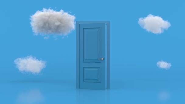White clouds going through, flying out, open blue door, objects isolated on bright blue background. Abstract metaphor, modern minimal concept. Surreal dream scene. 3d animation loop, 4K