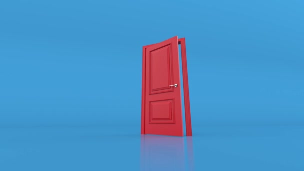 Open red door on blue background. 3d animation, 4K