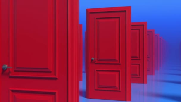 Rows of red wooden closed doors. Fog. Moving through a doors hall corridor. 3d animation loop, 4K