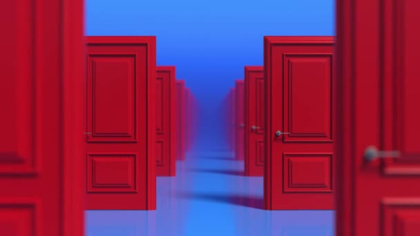 Rows of red wooden closed doors on a blue background. There are many ways to choose. Decision making concepts, different possibilities. Choice, business and success concept. Fog. 3d animation loop, 4K