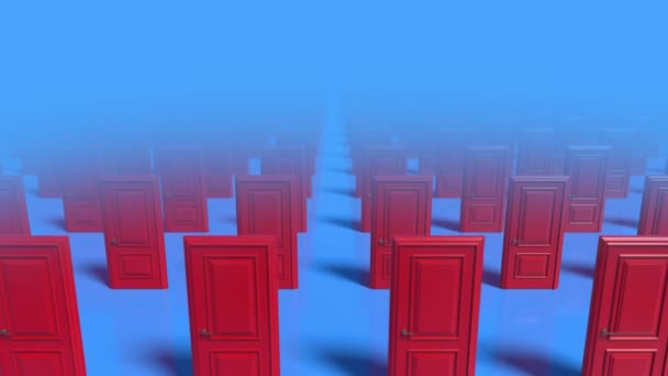 Rows of red wooden closed doors on a blue background. Decision making concepts, different possibilities. Choice, business and success concept. Welcome, new opportunity. Fog. 3d animation loop, 4K