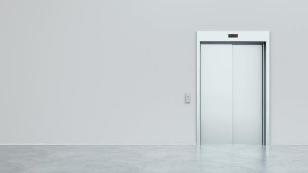 Tür in einem hellen weißen Raum öffnet sich und füllt den Raum mit hellem Weiß. Das Konzept der Wahl, des Geschäfts, des Erfolgs, der neuen Chancen, des Optimismus. 3D-Animation 4K
