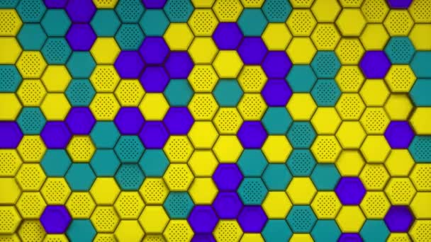Abstrakter gelb lila grüner sechseckiger Hintergrund. Geprägtes Sechseck, Wabenhintergrund. Moderne Hintergrundvorlage für Dokumente, Berichte und Präsentationen. Science-Fiction-Futurismus. 3D-Animationsschleife 4K