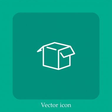 Opened white box vector icon linear icon.Line with Editable stroke icon