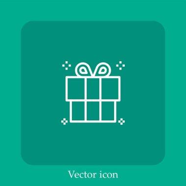 Gift   vector icon linear icon.Line with Editable stroke icon