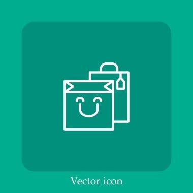 Shopping bag vector icon linear icon.Line with Editable stroke icon