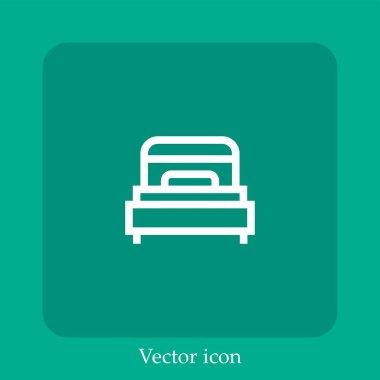 Single bed vector icon linear icon.Line with Editable stroke icon