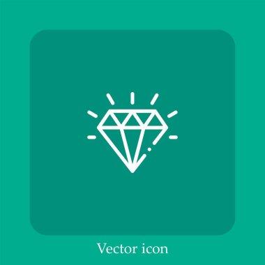 Diamond vector icon linear icon.Line with Editable stroke icon