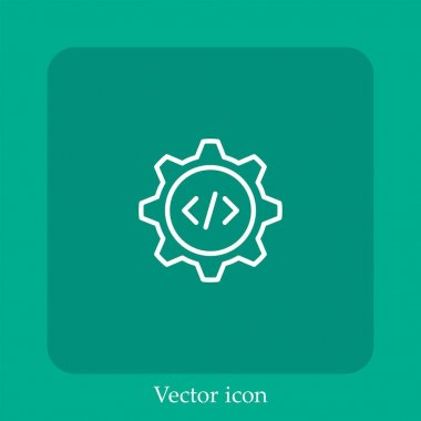 Coding vector icon linear icon.Line with Editable stroke icon