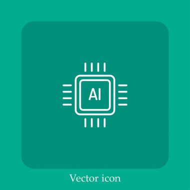 Chip vector icon linear icon.Line with Editable stroke icon
