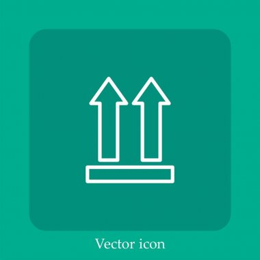 Side up vector icon linear icon.Line with Editable stroke icon