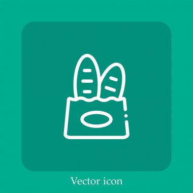 Paper bag vector icon linear icon.Line with Editable stroke icon