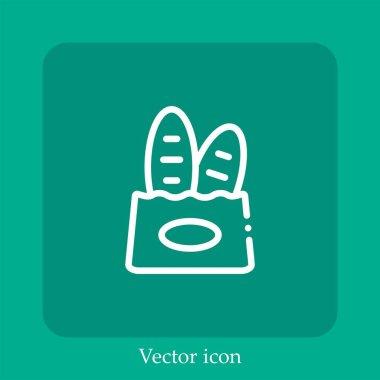 Paper bag vector icon linear icon.Line with Editable stroke icon