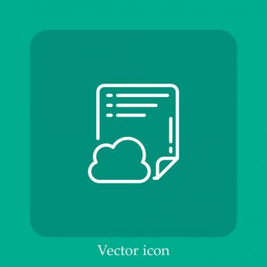 Cloud vector icon linear icon.Line with Editable stroke icon