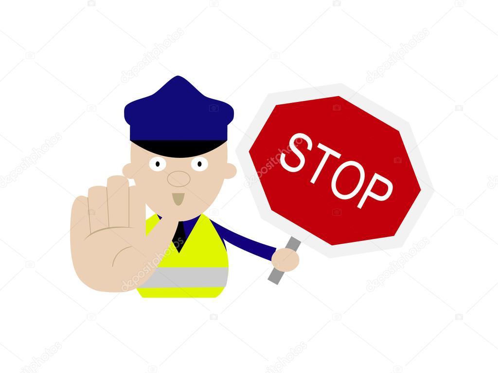 policía de dibujos animados con señal de stop — Archivo Imágenes ...